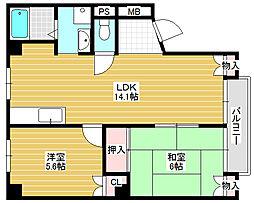 メロディーハイム浅香[3階]の間取り