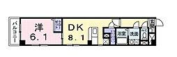 JR武蔵野線 西国分寺駅 徒歩1分の賃貸マンション 3階1DKの間取り