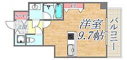 ブランTAT西宮本町2 3階ワンルームの間取り