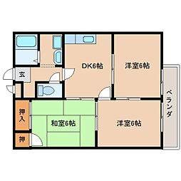JR桜井線 長柄駅 徒歩15分の賃貸アパート 2階3DKの間取り