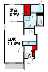 JR鹿児島本線 ししぶ駅 徒歩5分の賃貸アパート 1階1LDKの間取り