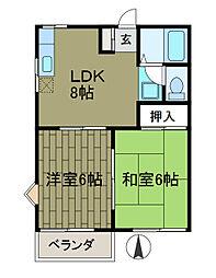 東京都町田市金森東4丁目の賃貸アパートの間取り
