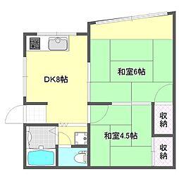 おおさか東線 城北公園通駅 徒歩14分の賃貸マンション 1階3DKの間取り