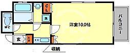 アクティ北浜 11階1Kの間取り