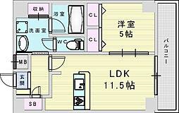 Osaka Metro御堂筋線 新大阪駅 徒歩8分の賃貸マンション 13階1LDKの間取り