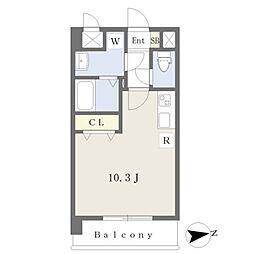 JR鹿児島本線 熊本駅 徒歩19分の賃貸マンション 3階ワンルームの間取り