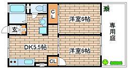 兵庫県神戸市東灘区本山南町2丁目の賃貸アパートの間取り