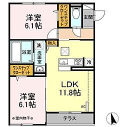 小田急小田原線 本厚木駅 バス14分 下依知入口下車 徒歩9分の賃貸アパート 1階2LDKの間取り