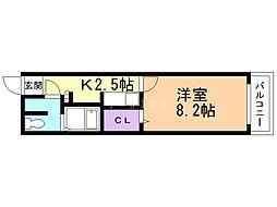 B-STAGE 2階1Kの間取り