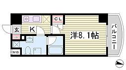 クレストコート神戸・灘 3階1Kの間取り