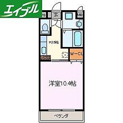 近鉄山田線 伊勢市駅 徒歩9分の賃貸マンション 7階1Kの間取り