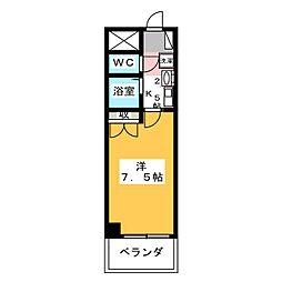 ロイヤルタワー 4階1Kの間取り