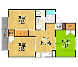 サンセジュール[1階]の間取り