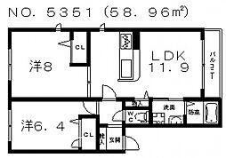 シャーメゾンココナ[2階]の間取り