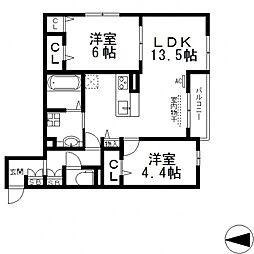 (仮称)D-room喜里川町[205号室号室]の間取り