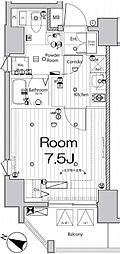 東京メトロ東西線 九段下駅 徒歩4分の賃貸マンション 3階1Kの間取り