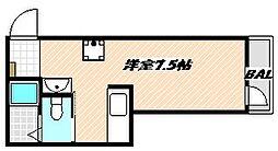 JR総武本線 船橋駅 徒歩3分の賃貸アパート 2階ワンルームの間取り