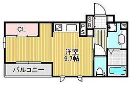 兵庫県西宮市高松町の賃貸アパートの間取り