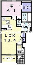 JR瀬戸大橋線 植松駅 徒歩13分の賃貸アパート 1階1LDKの間取り