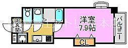 Luxe長田 5階1Kの間取り