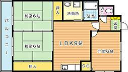 キャニオン朝倉[402号室]の間取り