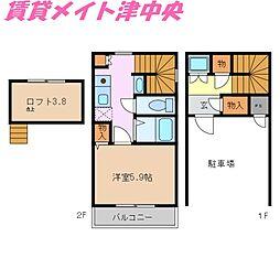 [テラスハウス] 三重県津市修成町 の賃貸【/】の間取り