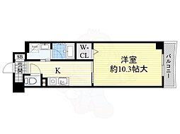 大阪モノレール彩都線 阪大病院前駅 徒歩5分の賃貸マンション 2階1Kの間取り