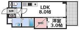 セレニテ谷九プリエ 9階1LDKの間取り