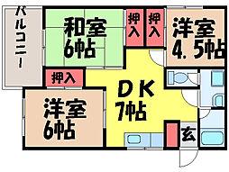 愛媛県松山市空港通6丁目の賃貸マンションの間取り