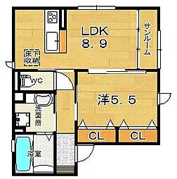 大阪府茨木市上穂積2丁目の賃貸アパートの間取り