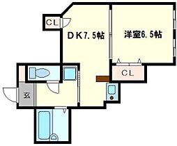 丸文ビル 4階1DKの間取り