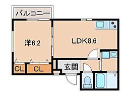 JR阪和線 和歌山駅 徒歩6分の賃貸アパート 1階1LDKの間取り