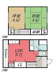 [タウンハウス] 千葉県四街道市栗山 の賃貸【/】の間取り