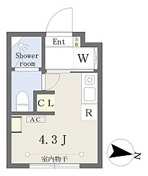Growcel下落合 地下1階ワンルームの間取り