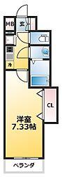 Luxe新大阪SOUTH 1階1Kの間取り
