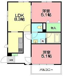 神奈川県藤沢市鵠沼橘2丁目の賃貸マンションの間取り