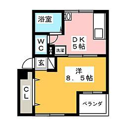 菱電アパート3号棟[4階]の間取り