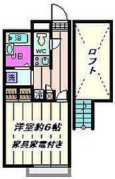 東京都荒川区荒川2丁目の賃貸アパートの間取り