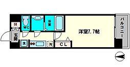 アドバンス大阪城シュアーヴ 2階1Kの間取り