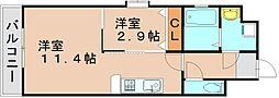 カシオペア箱崎[4階]の間取り