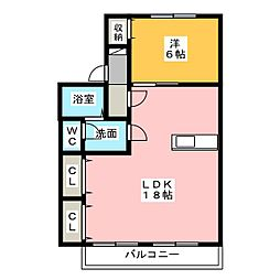 五平ハイツD棟[2階]の間取り