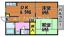 岡山県瀬戸内市邑久町尾張丁目なしの賃貸アパートの間取り