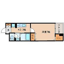 JR東海道本線 東静岡駅 徒歩10分の賃貸マンション 4階1Kの間取り