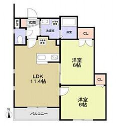 Laki[3階]の間取り