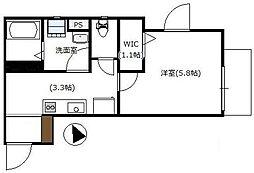 小田急小田原線 祖師ヶ谷大蔵駅 徒歩4分の賃貸アパート 3階1Kの間取り