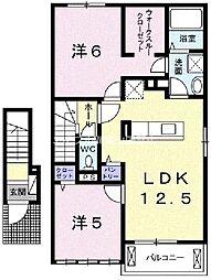 岡山県岡山市東区楢原丁目なしの賃貸アパートの間取り