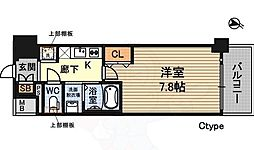 プランドール新大阪SOUTHレジデンス 6階1Kの間取り