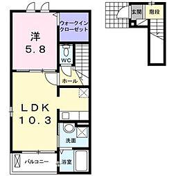 西武池袋線 大泉学園駅 バス12分 もみじ山下車 徒歩8分の賃貸アパート 2階1LDKの間取り