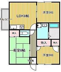 大阪府高槻市別所本町の賃貸アパートの間取り