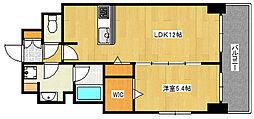 Cherir六甲道 6階1LDKの間取り